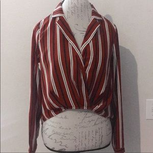 Forever 21 Brown w/ Stripes High Low Blouse Sz S
